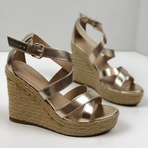 Banana Republic Factory Gold Wedge Espadrille Sz 6